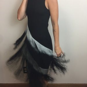 Haute Hippie Fringe Ombre Sleeveless Maxi Dress